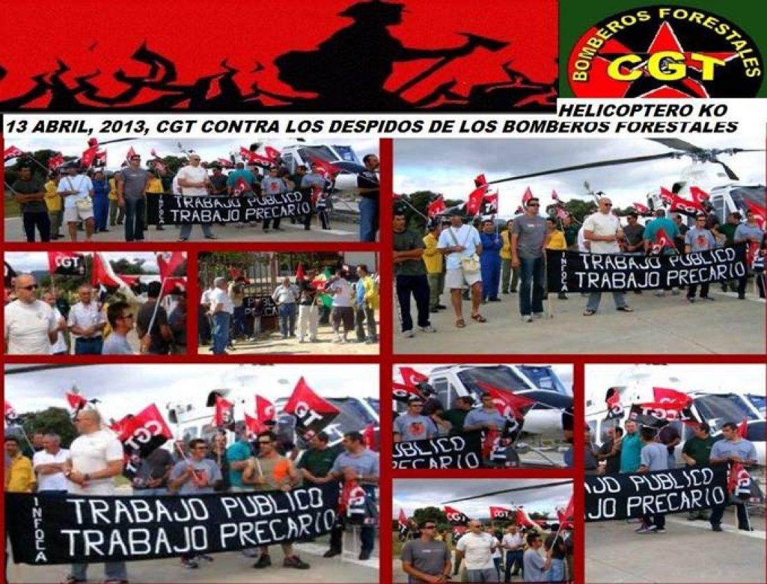 Despedidos del INFOCA se encadenan al helicóptero en el Brica de Cártama