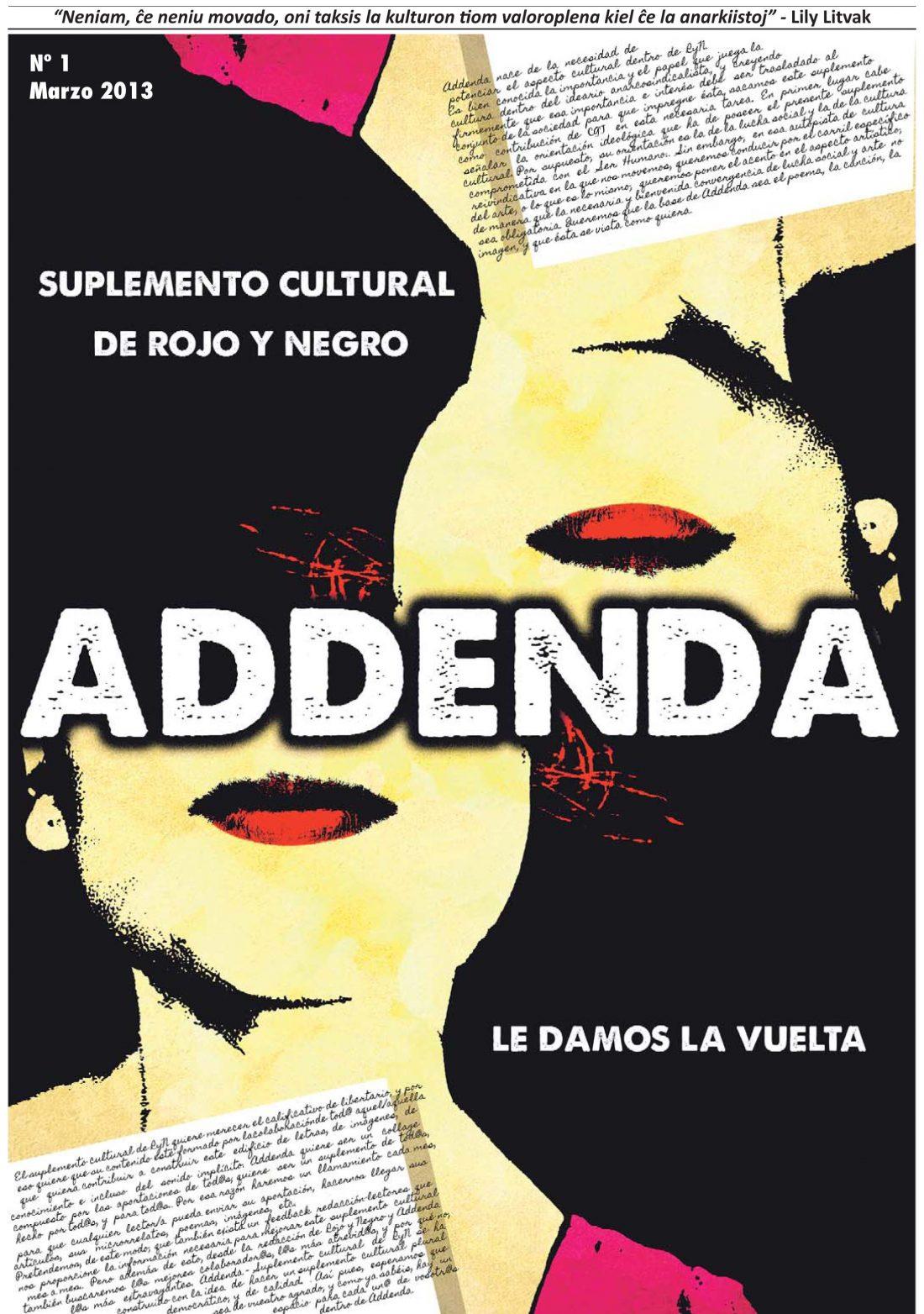 Addenda, suplemento cultural del RyN – Nº 1, marzo 2013