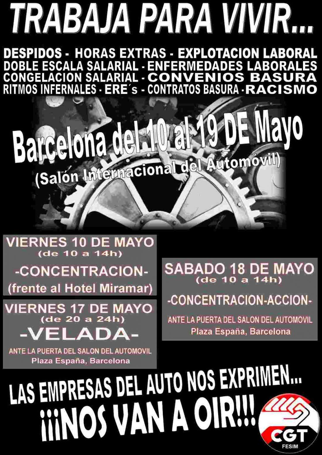 CGT-Metal convoca protestas el viernes 17 y sábado 18 en el Salón del Automóvil de Barcelona (Plaça España junto a las Torres venecianas)