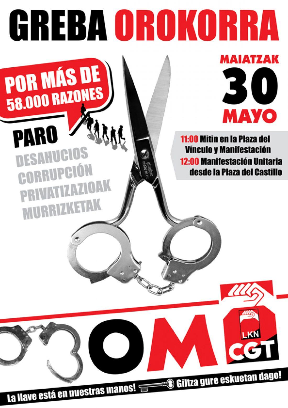 CGT-LKN Convoca Huelga General en Euskadi para el próximo 30 de Mayo