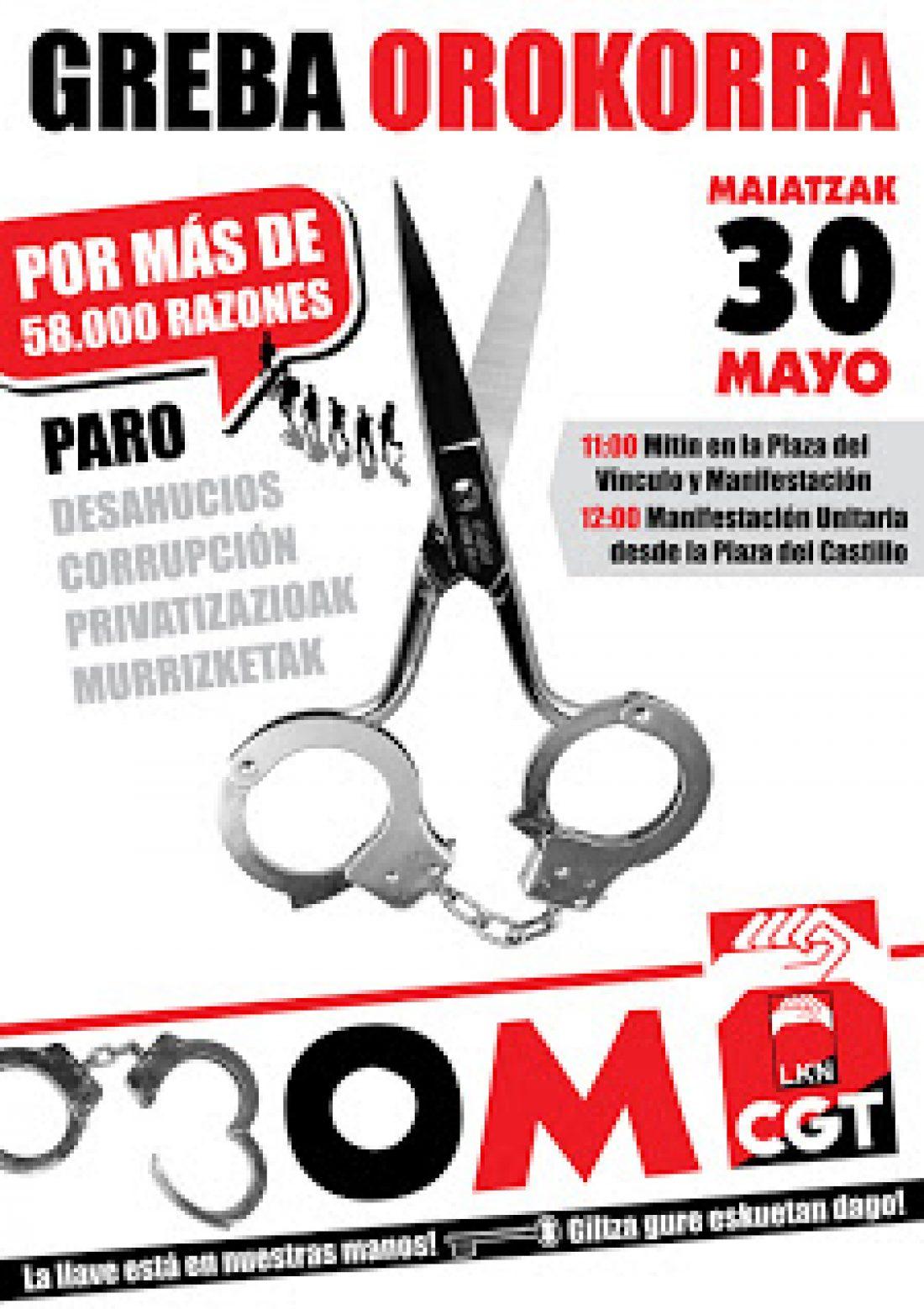 Comunicado: Solidaridad Huelga General convocada por CGT-LKN de Euskadi 30M