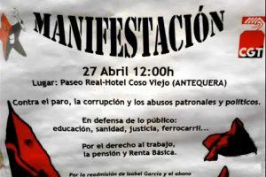 Manifestación de CGT en Antequera el 27 de abril