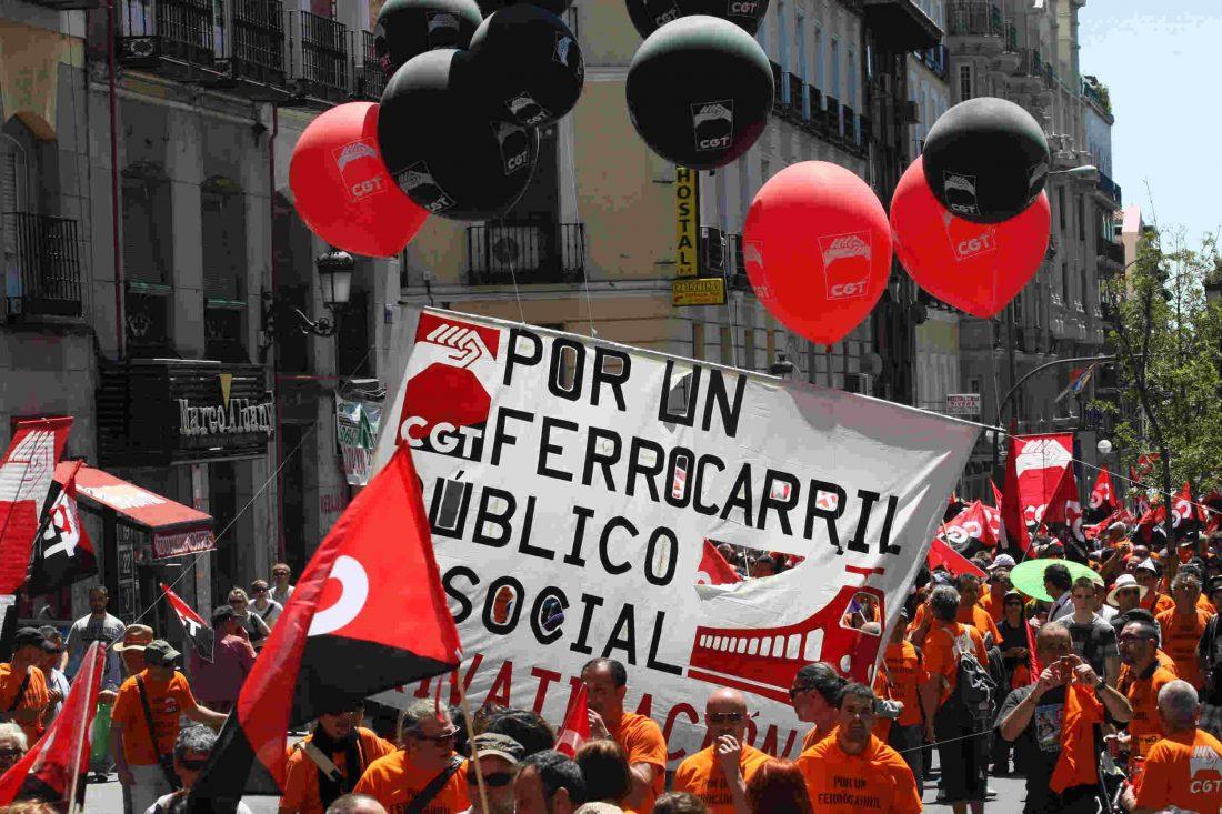 Masiva manifestación en Madrid. Los ferroviarios exigen al gobierno que nuestro ferrocarril siga siendo público y social