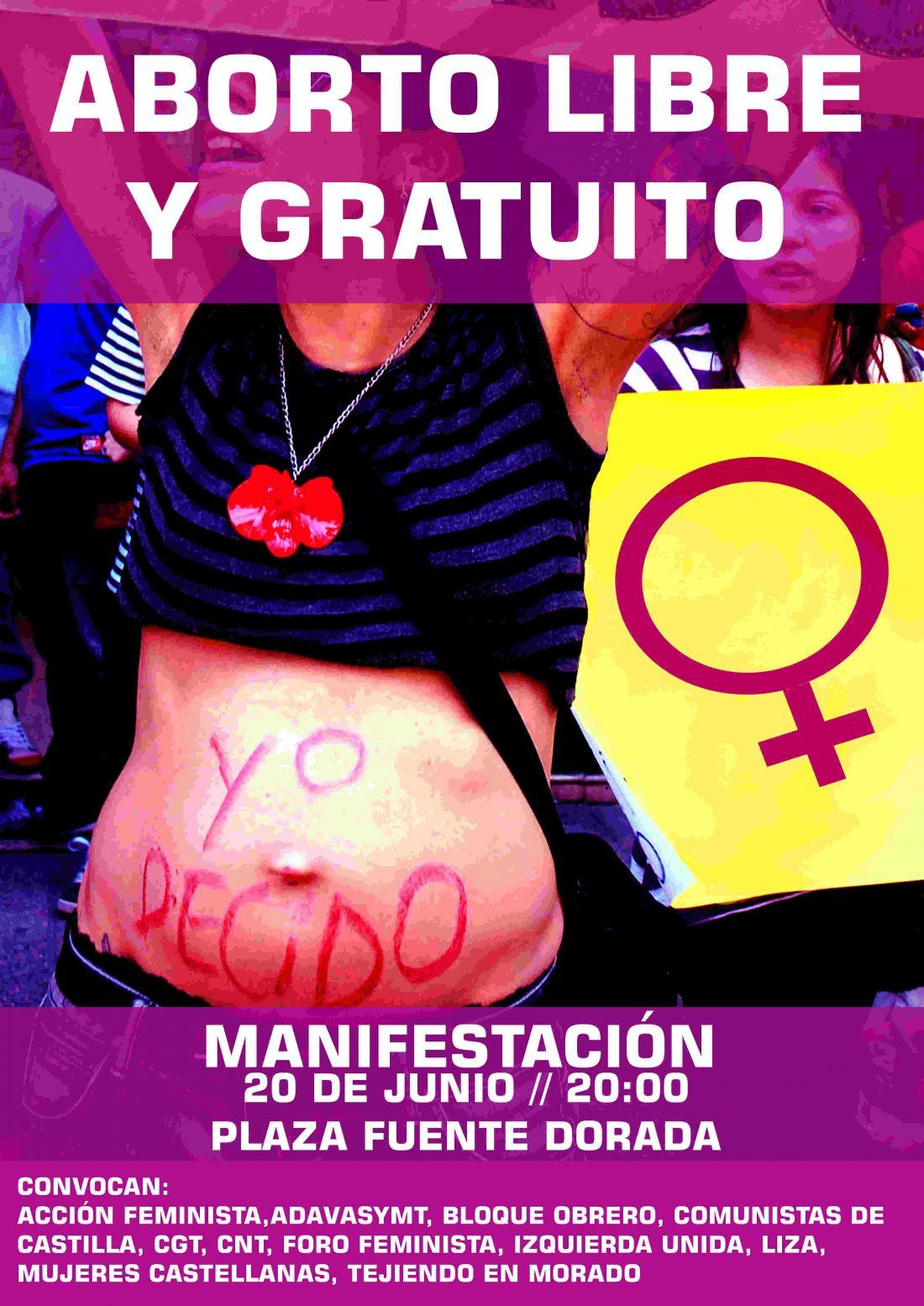 Manifestación 20-J Valladolid: Por el derecho a decidir, aborto libre y gratuito