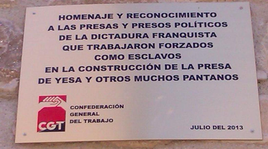 Homenaje de la CGT a las presas y presos franquistas que trabajaron en la construcción del embalse de Yesa y otros pantanos