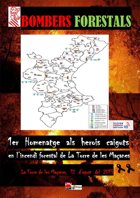 Primer Homenaje a los compañeros muertos en el incendio forestal de La Torre de les Maçanes