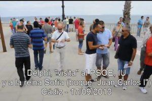 Los ex-trabajadores de DELPHI y el colectivo de parados de Cádiz visitan al PSOE, IU y a la reina Sofía