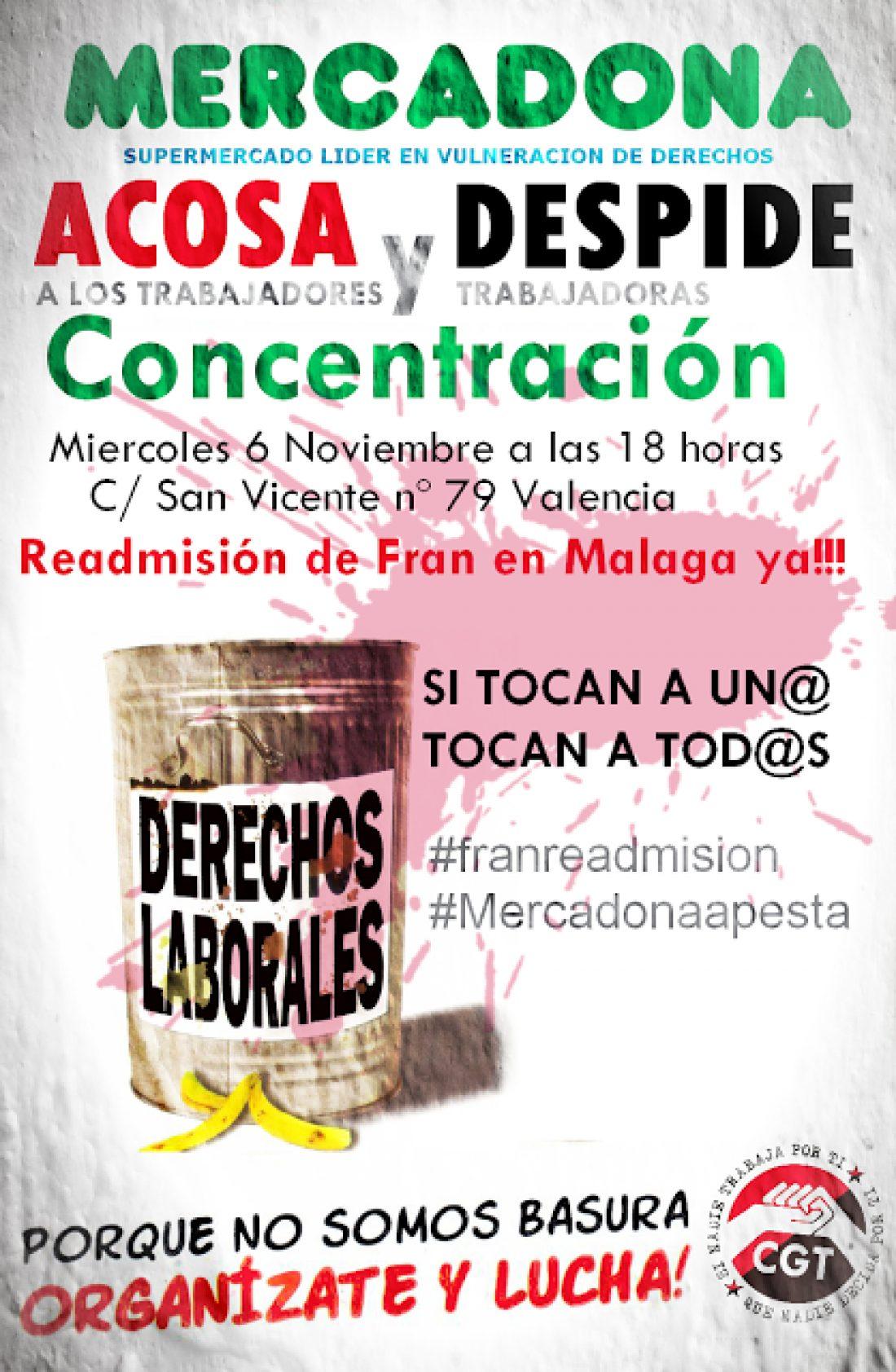 6-n: Concentración en Valencia contra la política antisindical de Mercadona