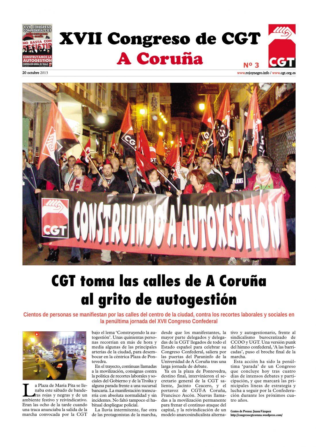 Diario del XVII Congreso Confederal nº 3 – 20-10-2013