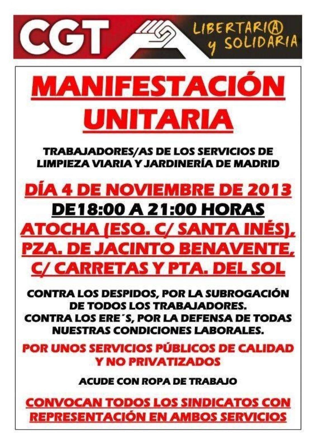 Manifestación unitaria trabajadores/as de los servicios de limpieza viaria y jardinería de Madrid