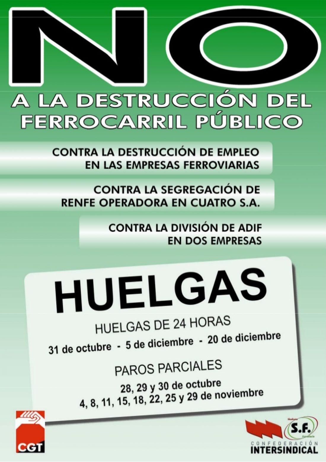CGT convoca calendario de huelgas en el ferrocarril contra la destrucción de empleo y en defensa del servicio público y social