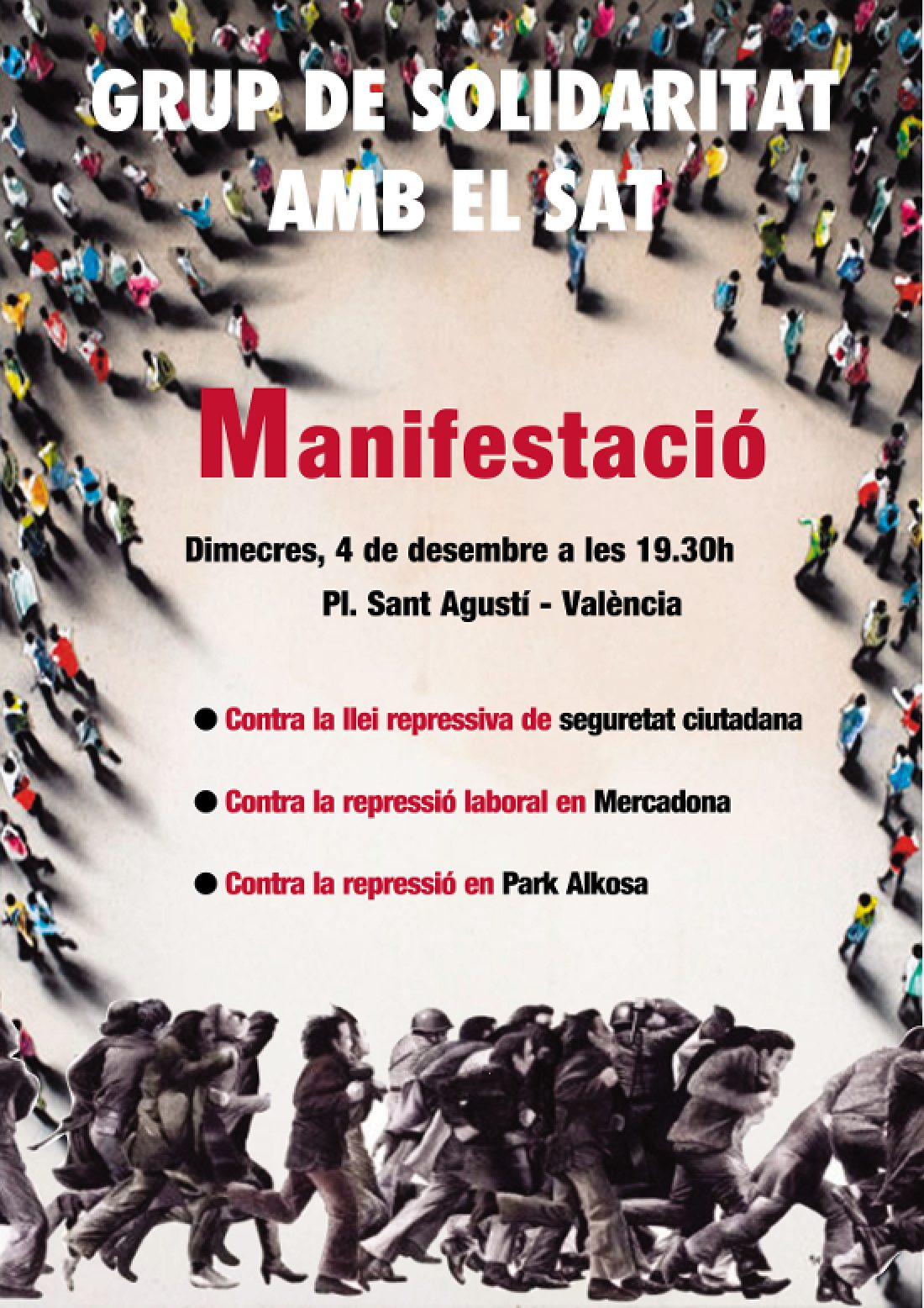 Manifestación el día 4 de diciembre en Valencia