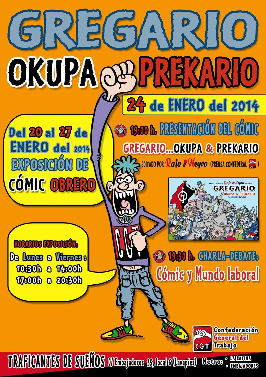 Presentación del cómic Gregario: okupa&prekario