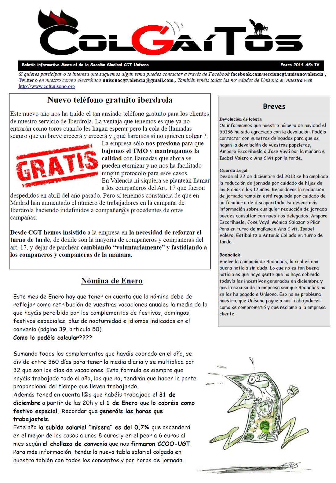 «Colgaítos» enero 2014: Boletín informativo de CGT Unísono Valencia