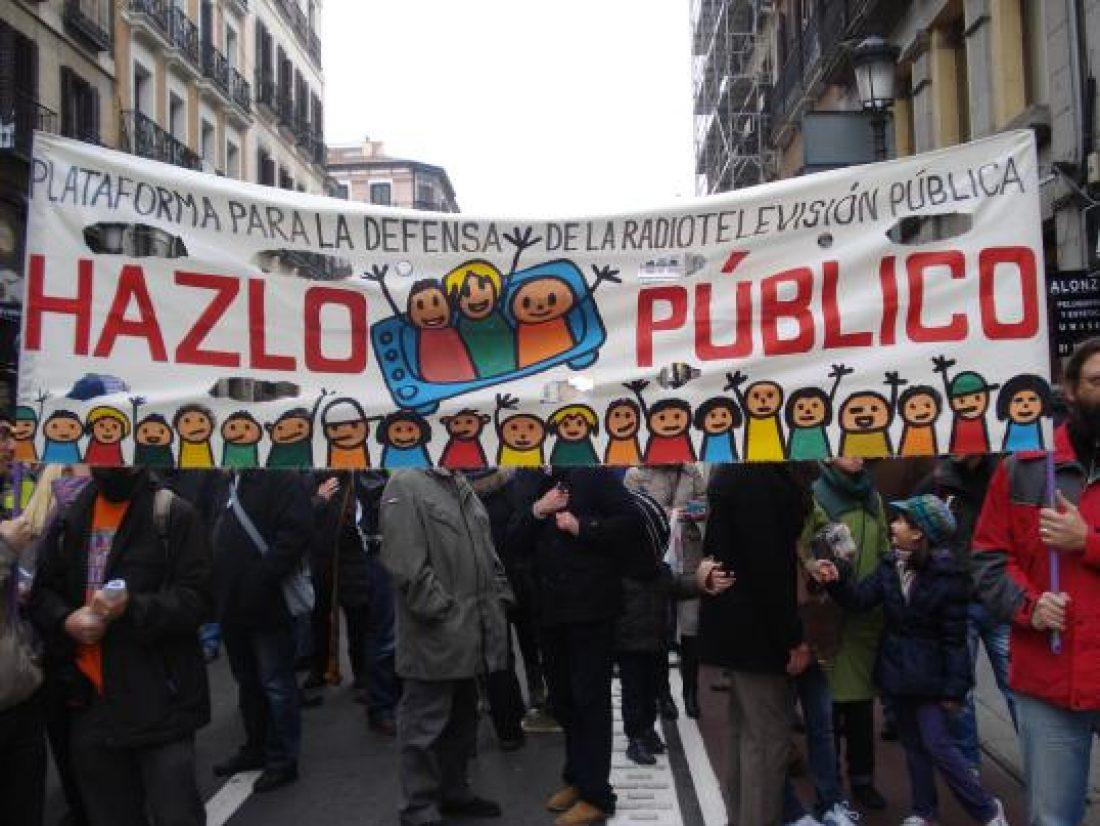 Manifestación en defensa de Telemadrid y contra el ERE en su primer aniversario