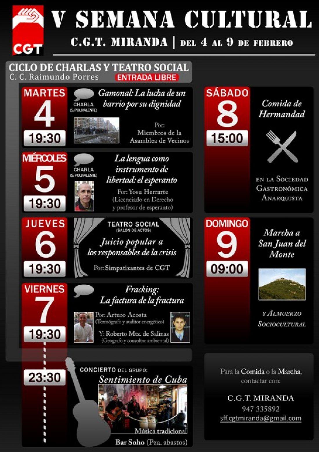 V Semana Cultural CGT Miranda de Ebro