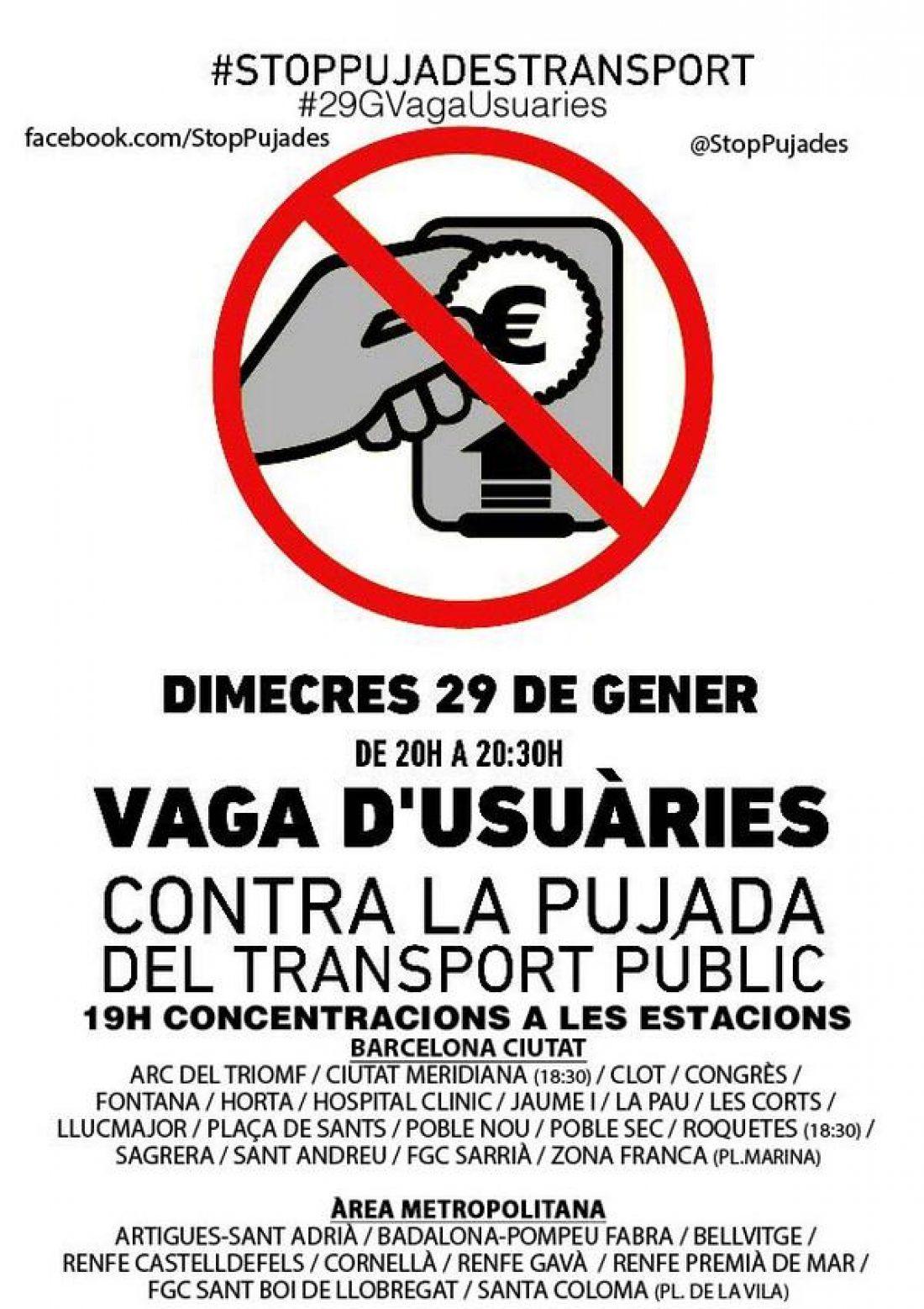 Convocada el miércoles 29 de enero una huelga de usuarias y usuarios en Barcelona y área metropolitana de 20:00 a 20:30 para exigir la retirada del aumento del precio del transporte público de 2014