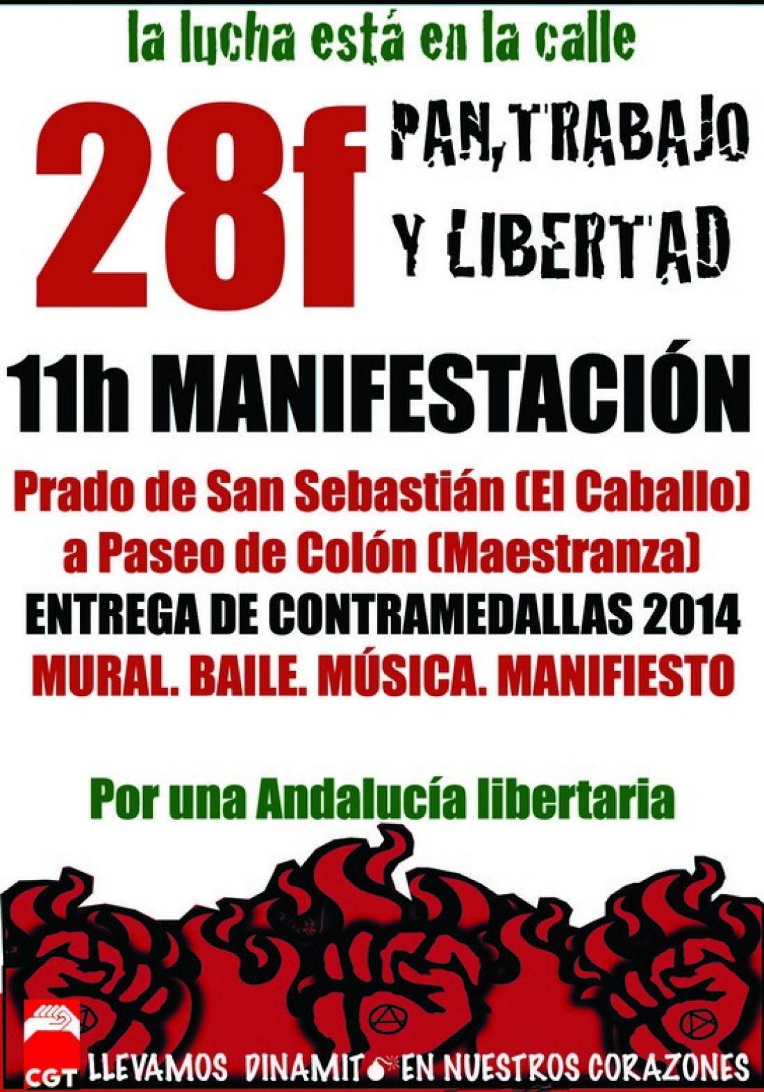 Manifestación de CGT en Sevilla el 28F, Día de Andalucía