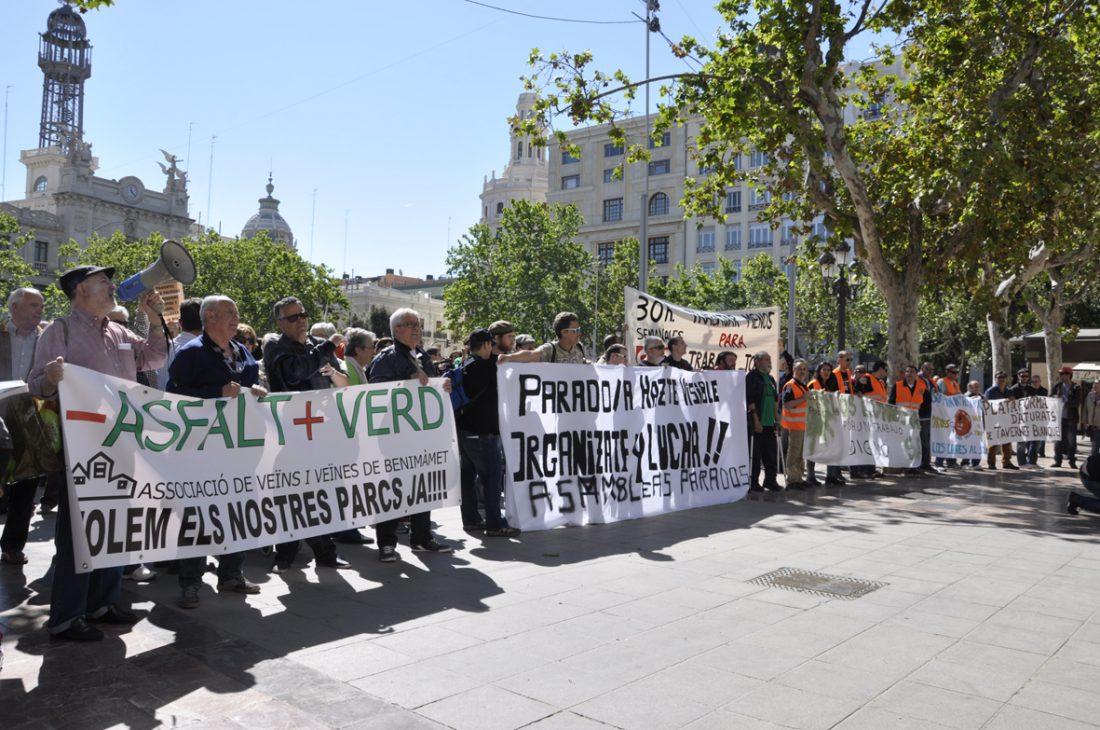 Celebrada una concentración en Valencia contra el paro, la precariedad y por la visibilización de desempleados y desempleadas