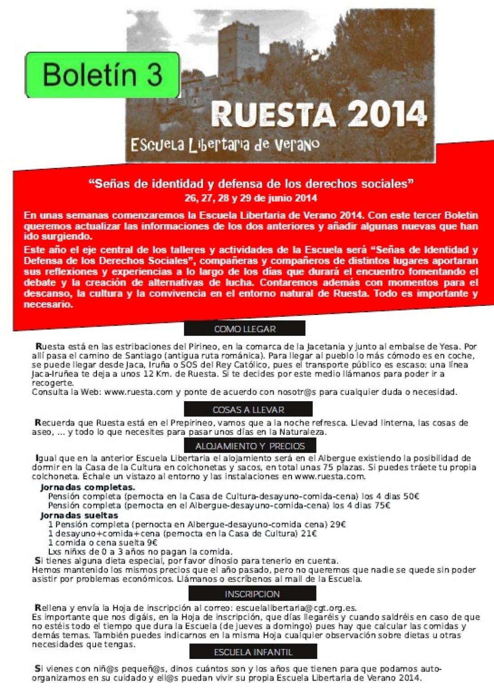 Escuela de verano en Ruesta boletín 3 y hoja de inscripción