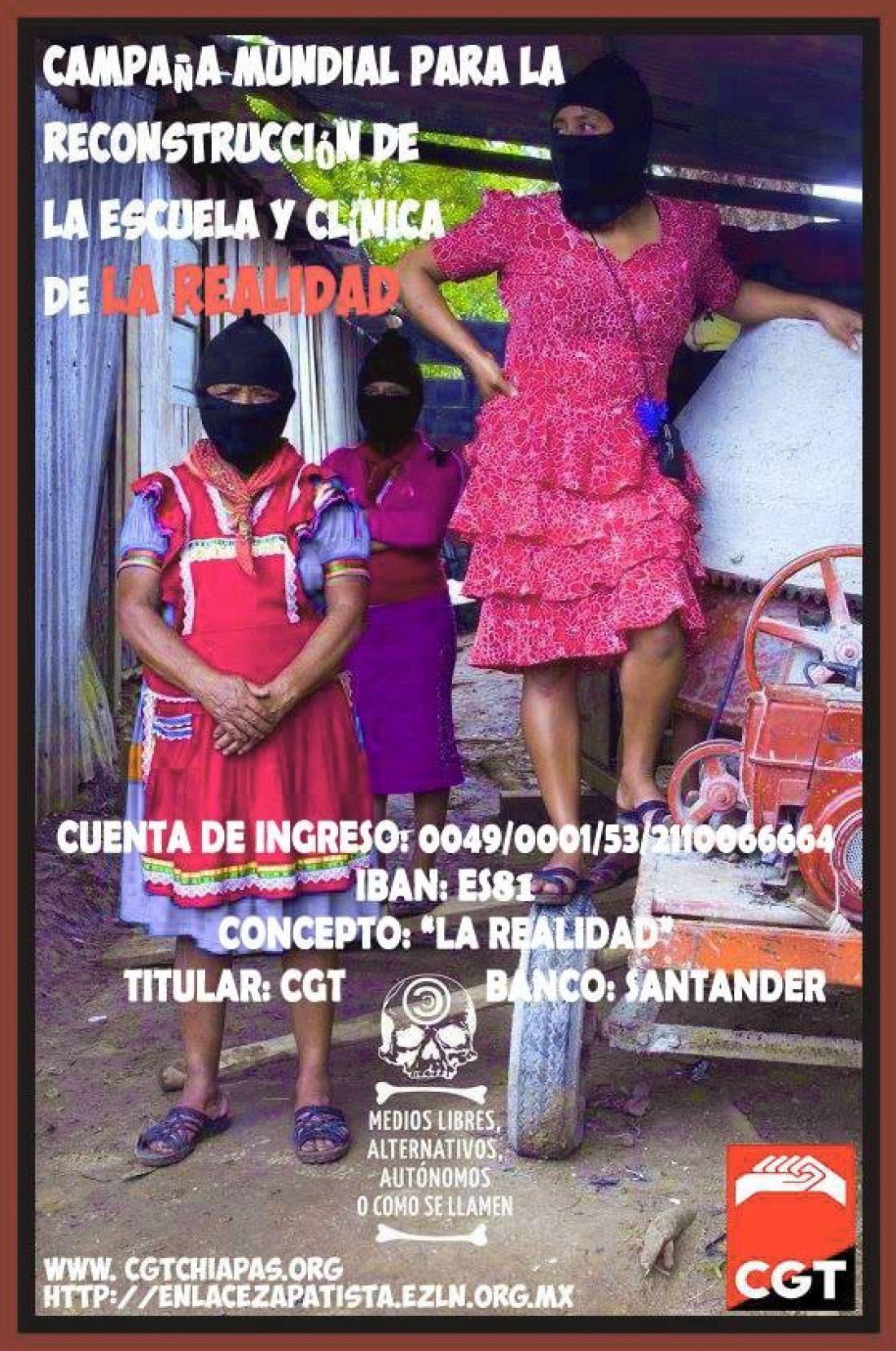 Campaña internacional Reconstrucción Escuela y Clínica en La Realidad, Chiapas.