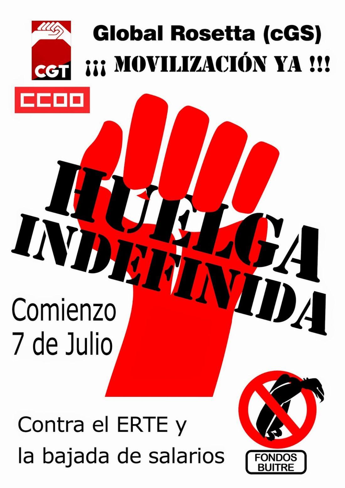 Comienza la huelga indefinida en Global Rosetta