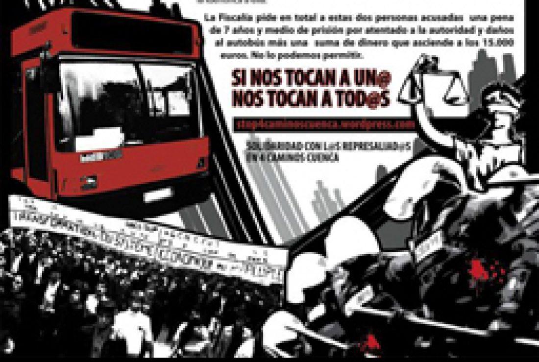 """CGT apoya la campaña """"Stop montajes policiales Cuatro Caminos-Cuenca"""""""