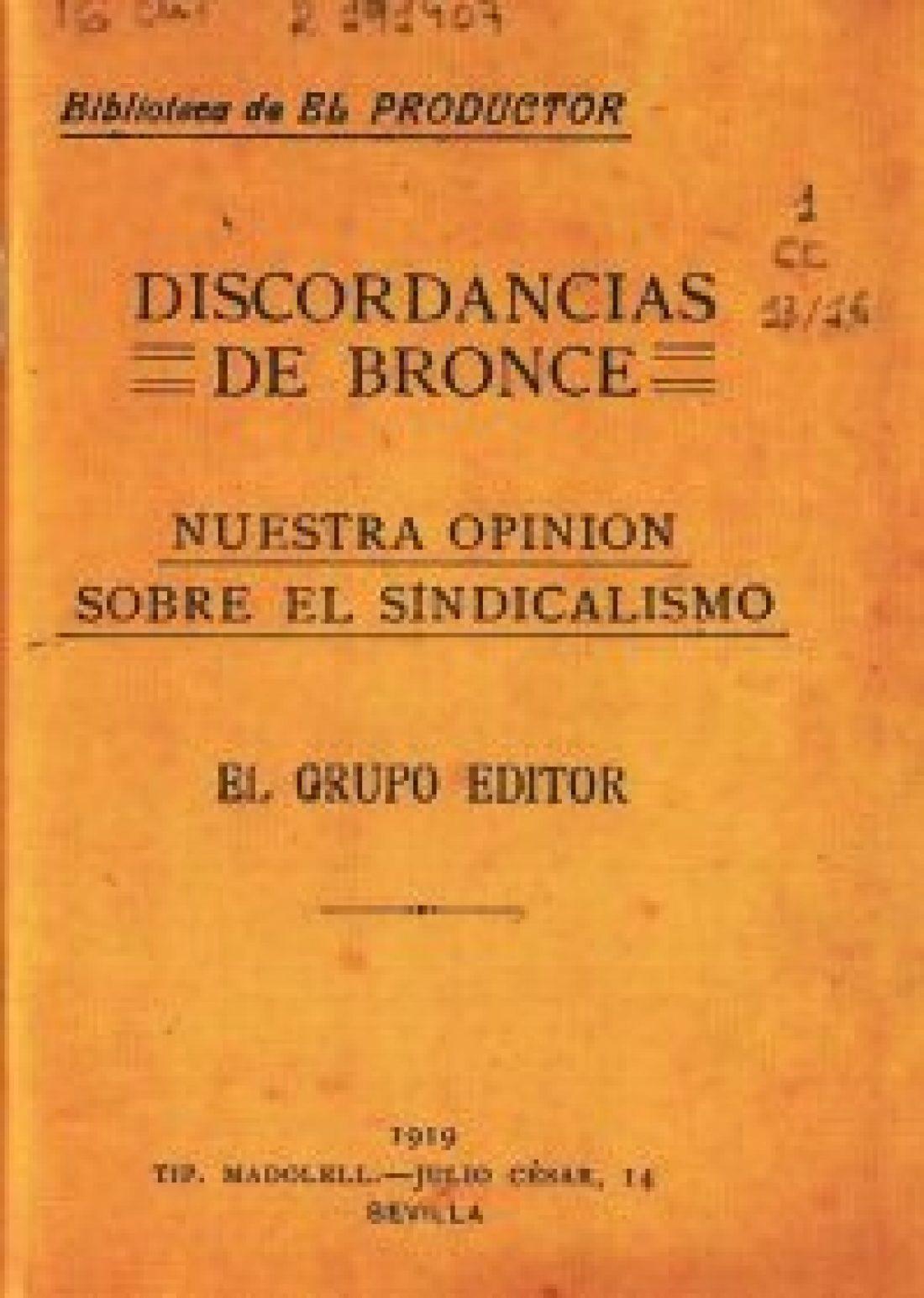 """Se edita """"Discordancias de Bronce"""" de José Sánchez Rosa, coincidiendo con el 150ª aniversario de su nacimiento"""