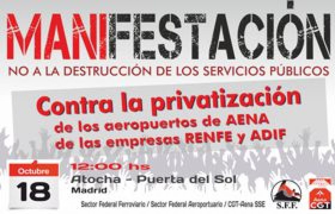 Sábado 18 Octubre: 12:00 manifestación estatal en defensa del transporte público, social, sostenible y seguro.