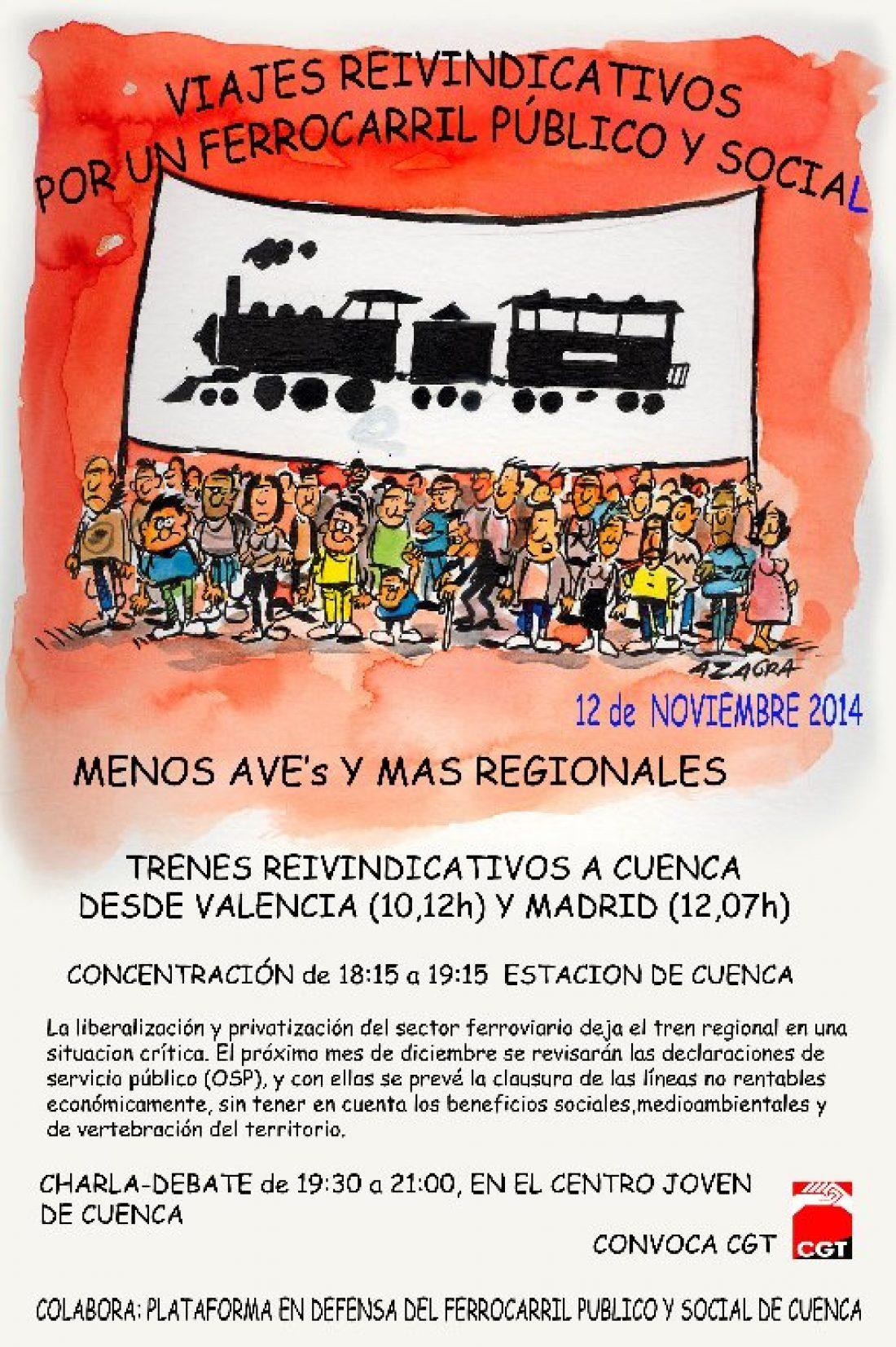 Viaje reivindicativo en tren desde Valencia y Madrid a Cuenca en defensa de la línea convencional