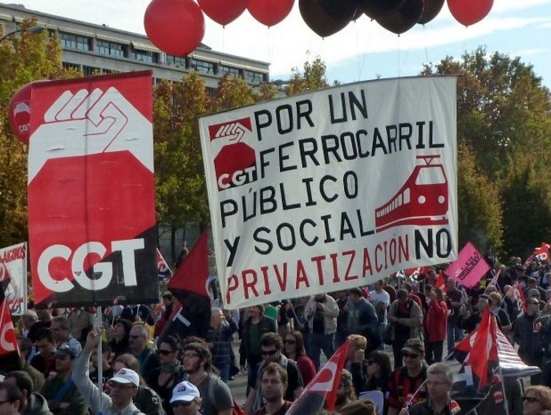 CGT convoca huelgas en RENFE y ADIF el viernes 26 de diciembre