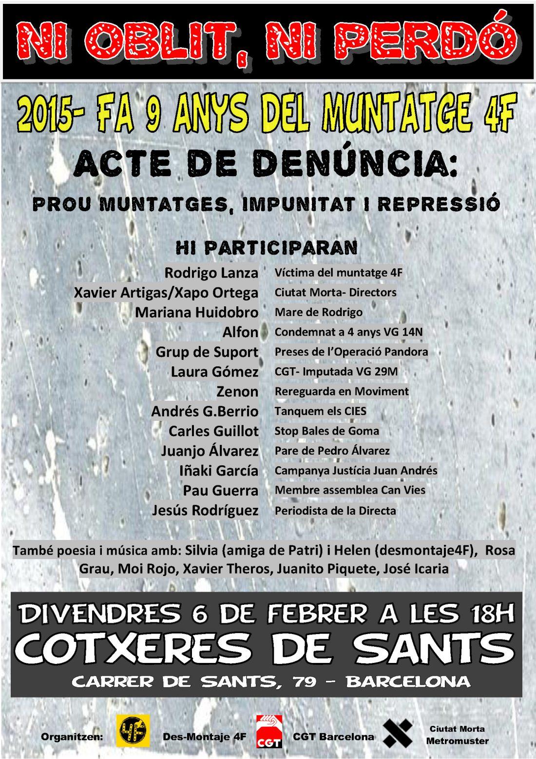 Acto antirrepresivo en Barcelonan el 6 de febrero