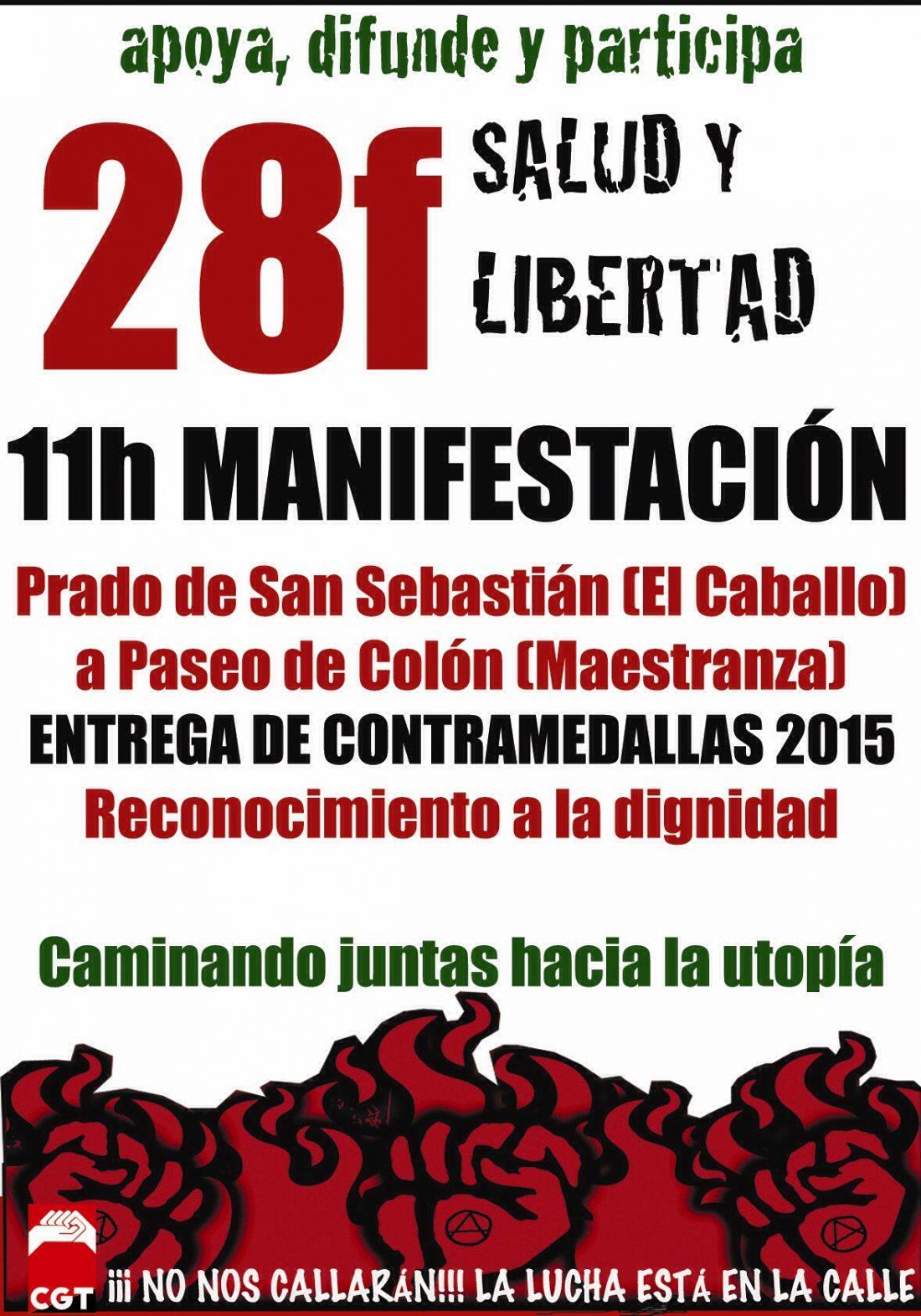 """CGT Andalucía se movilizará el 28F y entregará las medallas alternativas de """"reconocimiento a la dignidad"""" de 2015"""