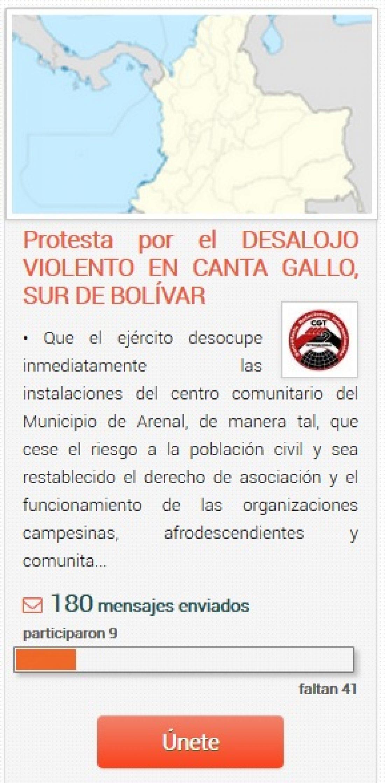 Campaña en oiga.me: Protesta por el Desalojo violento en Canta Gallo, Sur de Bolívar
