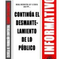 Boletín 149: Continúa el desmantelamiento de lo público