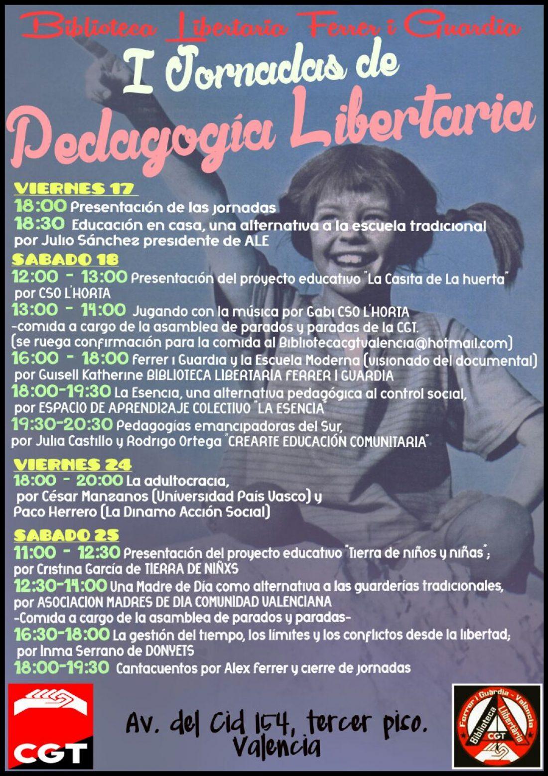 Primeras Jornadas de Pedagogia Libertaria de la CGT en Valencia