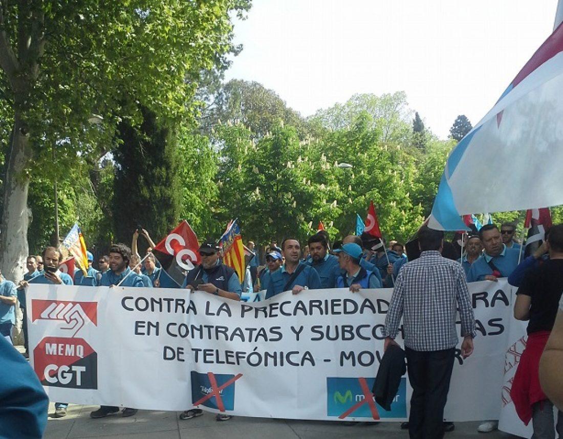 Huelga indefinida del personal técnico  autónomo y subcontratado de Movistar-Telefónica desde el 14 de abril de 2015