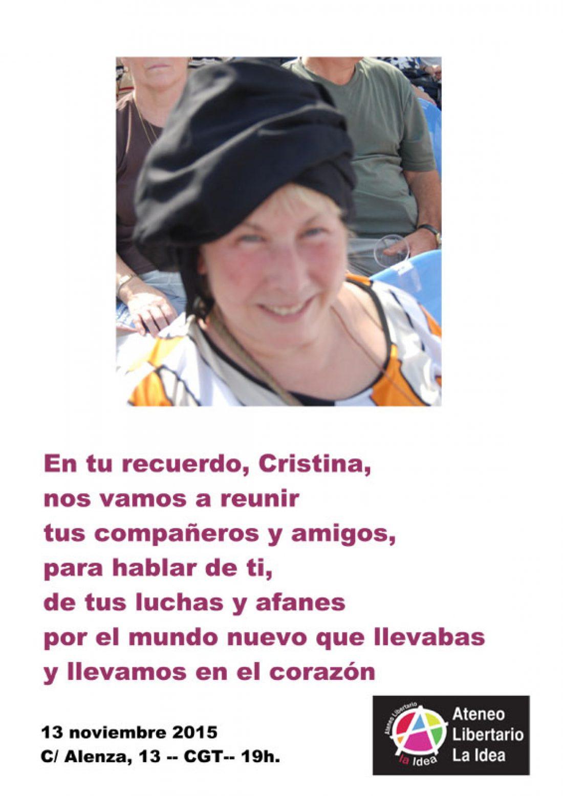 Acto en recuerdo de Cristina Plaza en el Ateneo Libertario «La Idea»