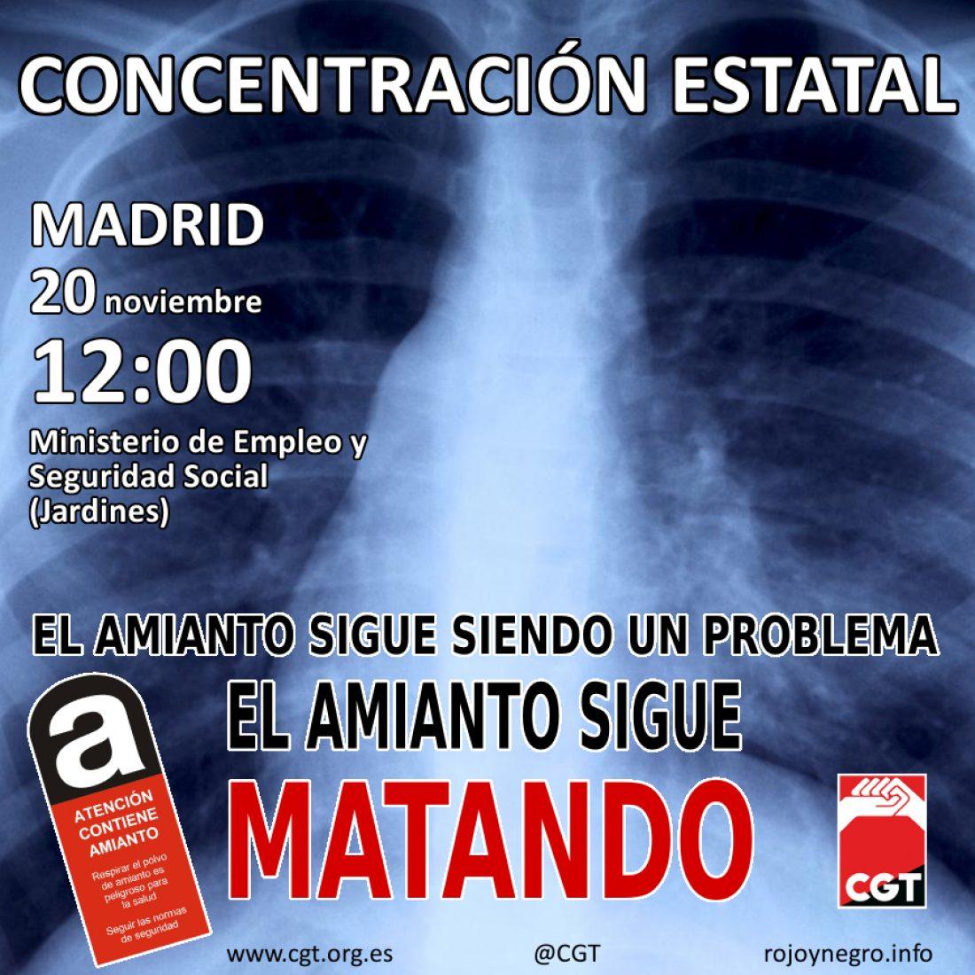 Concentración Estatal en Madrid, 20 nov. 12:00 h. – El Amianto sigue Matando
