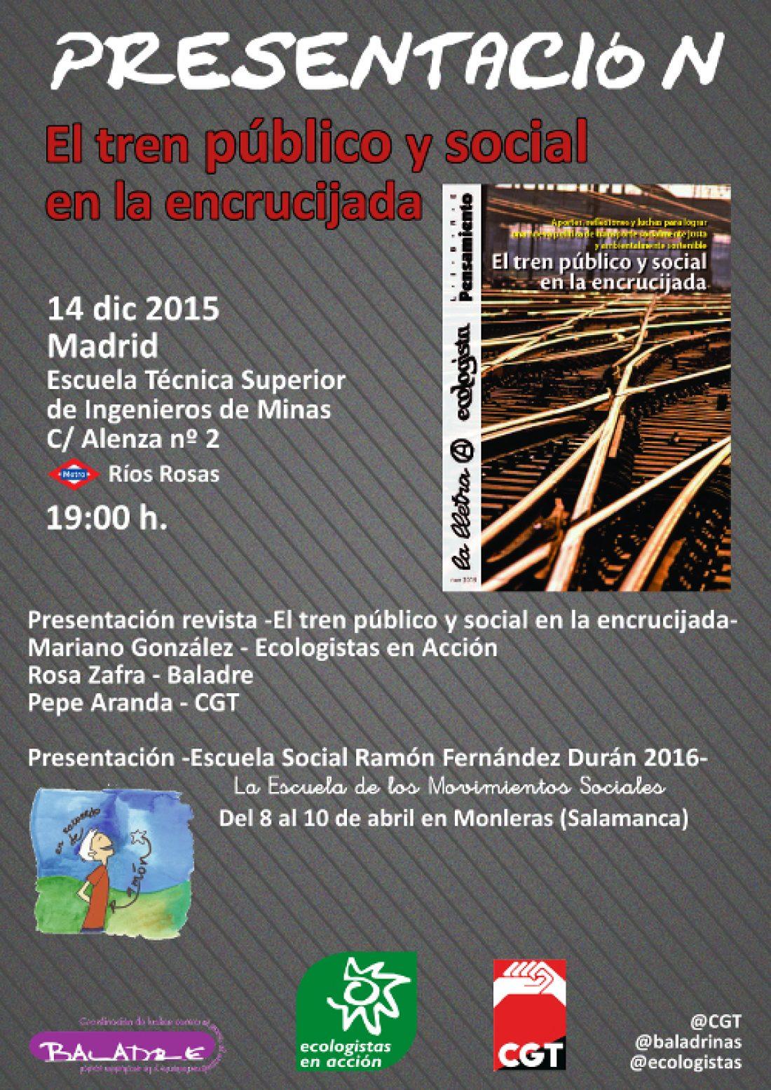 Presentación en Madrid de la revista -El tren público y social en la encrucijada-