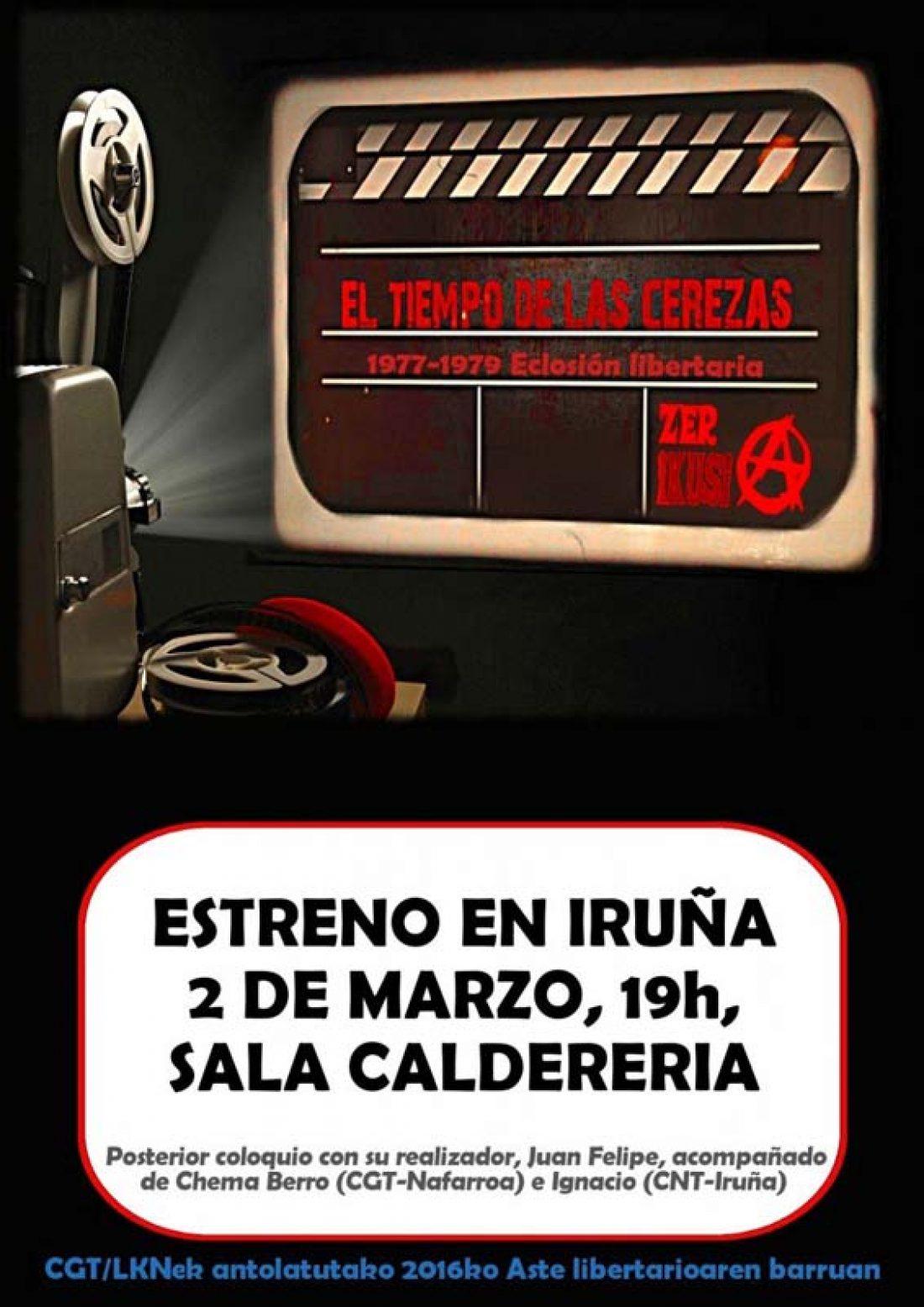 2-M: Estreno de «El tiempo de las cerezas. 1977-1979, eclosión libertaria» en Iruña