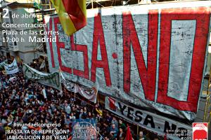 Concentración en apoyo a los 8 de Yesa, sábado 2 de abril, 17:00h plaza de las Cortes de Madrid