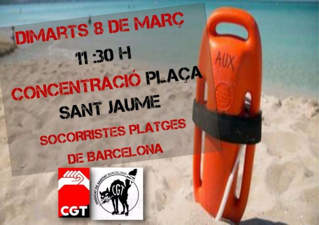 Concentración en defensa de los puestos de trabajo de  salvamento y socorrismo de las playas de Barcelona martes 8 de marzo a las 11:30 horas Plaça Sant Jaume