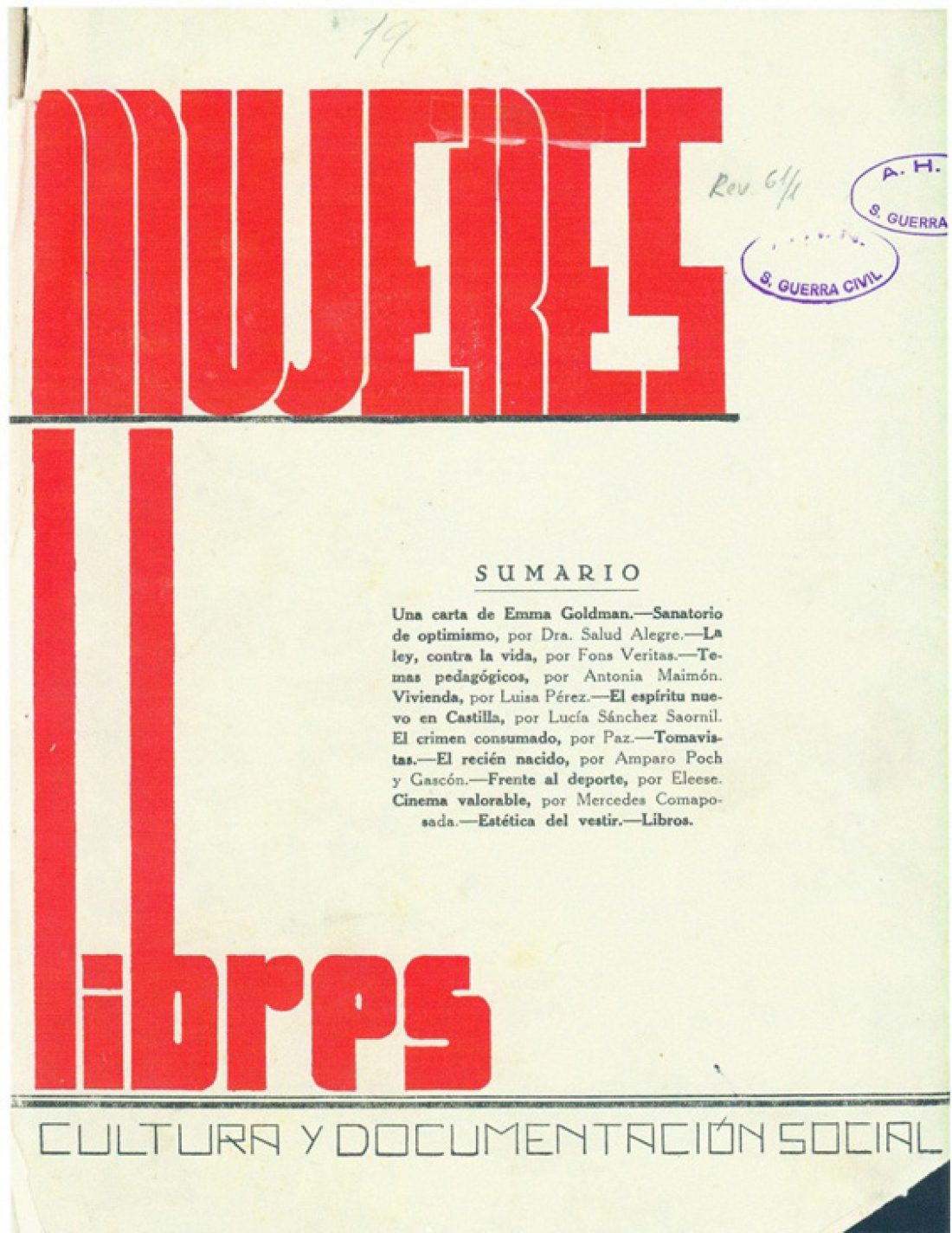 Recordando que hace 80 años nació la revista «Mujeres Libres» (mayo de 1936)