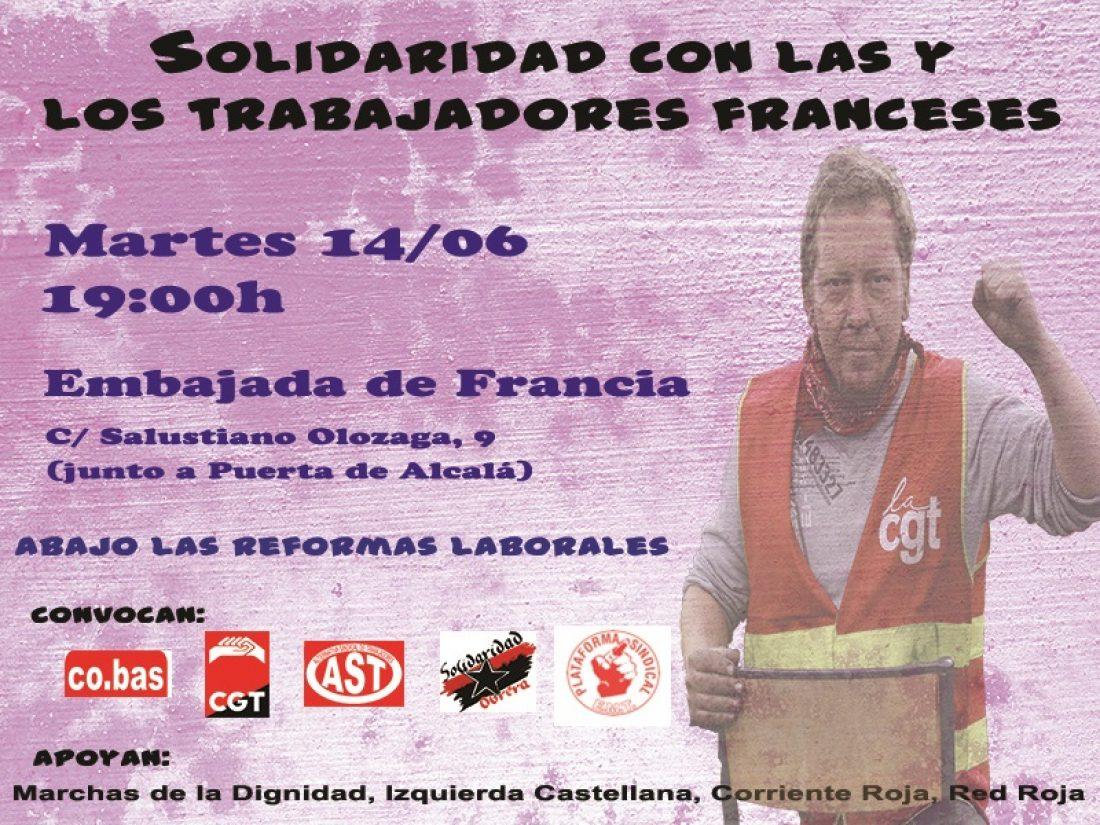 Concetración en solidaridad con las trabajadoras y trabajadores de Francia