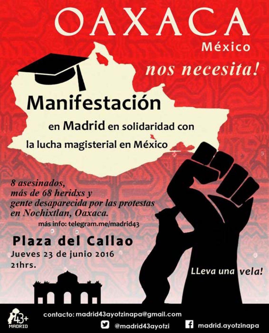 Manifestación de solidaridad con maestr@s de Oaxaca, México en Madrid