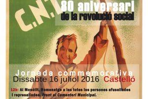 16-J Castelló: Actos y Comunicado CGT-Castelló ante el 80 aniversario de la Revolución Social