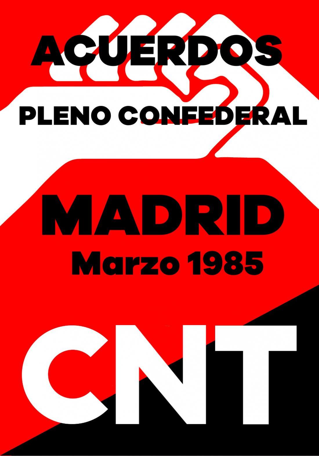 Pleno Confederal de Marzo de 1985