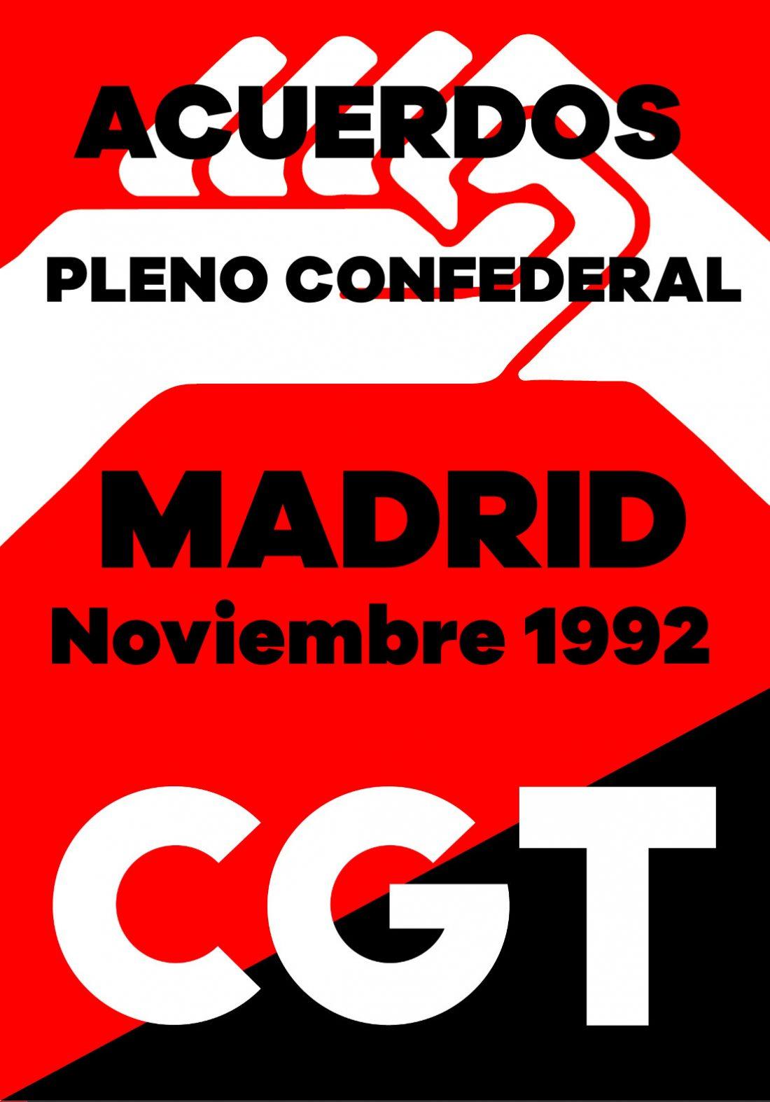 Pleno Confederal de Noviembre de 1992. Acuerdos