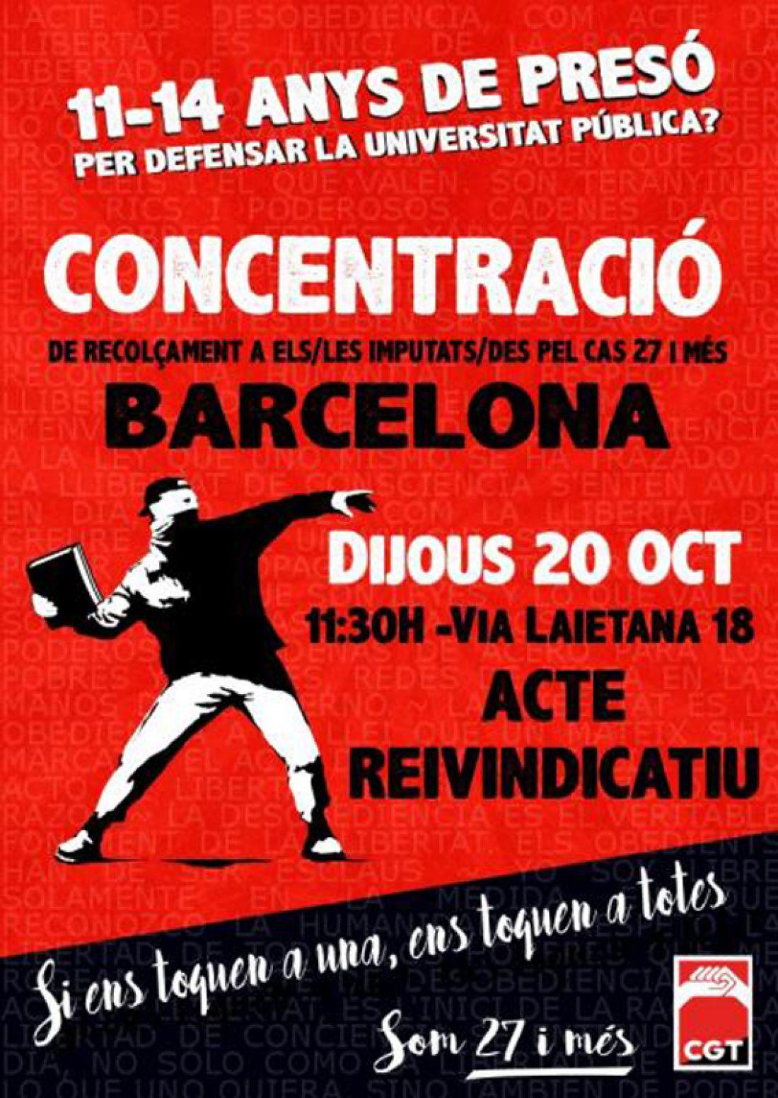 """20 octubre de solidaridad con """"Somos 27 y más"""". Actos y convocatorias"""